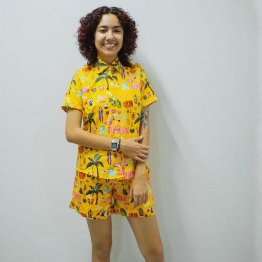 Conjunto Tropical Moda Praia Camisa e Short Personalizado 08