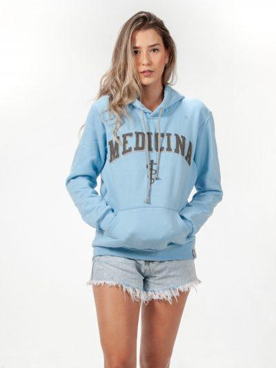 blusa de frio azul claro de medicina