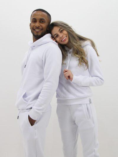 blusa de moletom branco liso