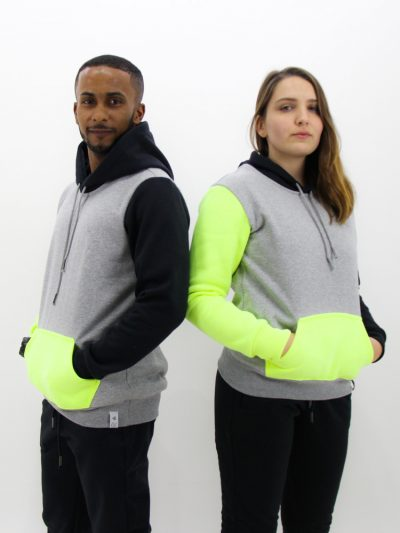 Blusa de Moletom Color Block Preto com Neon (2)