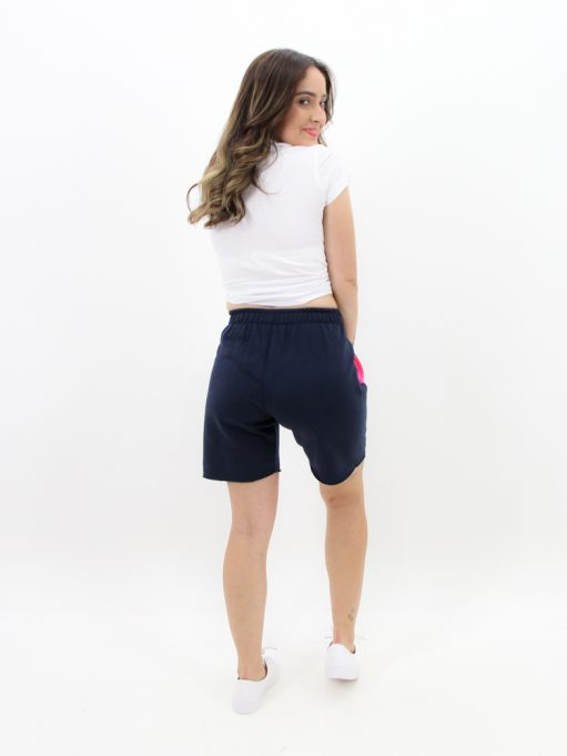 short de moletinho azul marinho feminino