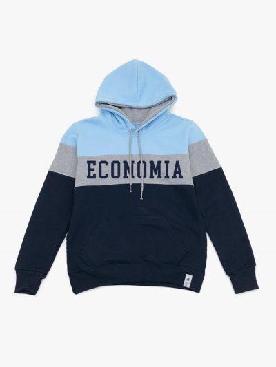 Blusão de frio Tricolor Azul Cinza e Marinho de Economia