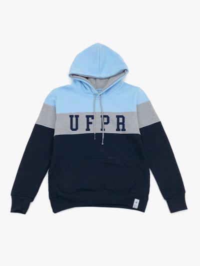 Blusa de frio Tricolor Azul Claro Cinza e Marinho UFPR Universidade Federal do Paraná