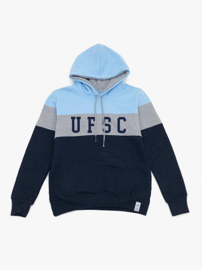 Blusa de frio Tricolor Azul Claro Cinza e Marinho UFSC Universidade Federal de Santa Catarina